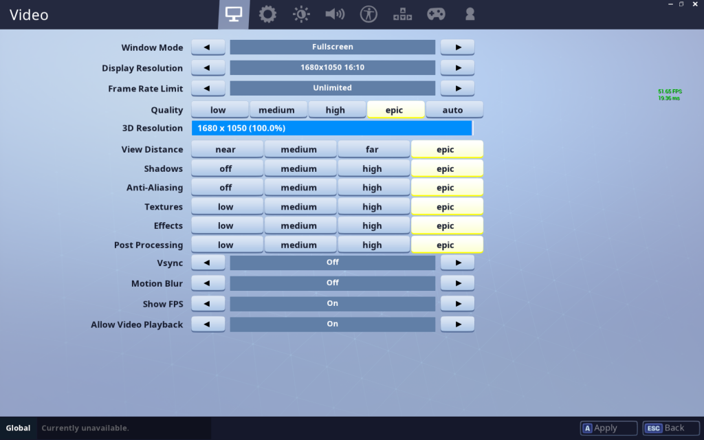 Fortnite Video Settings