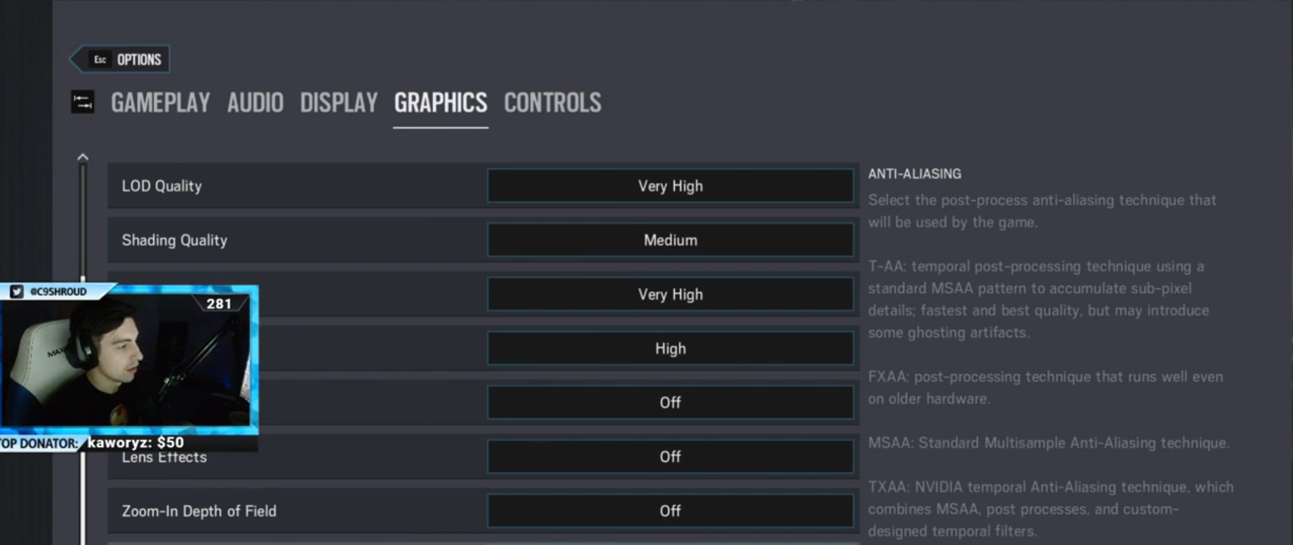 Shroud Rainbow Six Siege Settings